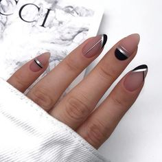 Get Started With Innovative Nail Art Designs Very cute pink gray and black nail art Matte Nail Art, Black Nail Art, Acrylic Nails, Gel Nails, Nail Polish, Manicures, Nail Manicure, Cute Black Nails, Pink Black Nails