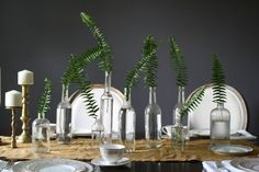 Simple and elegant, fern branch tablescape