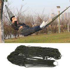 1 Unid dormir hamaca hamaca columpio Hamaca De Malla hamaca muebles de Jardín Portátil Viajes Acampar Al Aire Libre saco de Dormir Cama Nylon HangNet