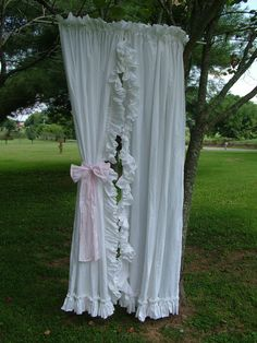 Shabby Chic White Ruffle Curtains Vintage by bellasattictreasures