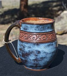 Pottery Mug with a Saying - Carved Wave Band - Blue Rutile - 14 oz