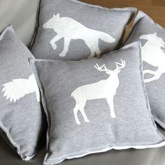 Woolves Wild White Pillows #pillow #print #screenprint #deer #wolf #horse #owl #woods #wild #animals #gray #minimalist #scandinavian #home #decoration