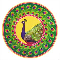 Colorful Sticker Rangoli Peacock Print on Glazed Paper (Ritual Print on Sticker for Wall or Floor Decoration)