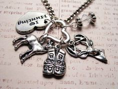 I love hunting charm holder with 5 charms  Pendant  necklace. $19.00, via Etsy.