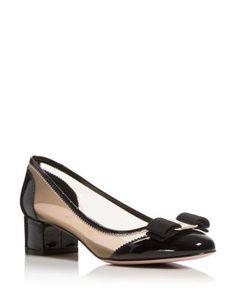 Salvatore Ferragamo Eva Mesh and Patent Leather Block Heel Pumps   Bloomingdale's