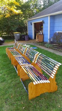 Items similar to Hockey stick bench on Etsy Hockey Stick Crafts, Hockey Sticks, Hockey Decor, Hockey Room, Diy Wood Projects, Home Projects, Outdoor Rink, Field Hockey, Reno