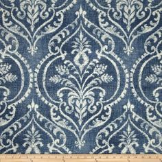 Swavelle/Mill Creek Dalusio Damask Denim Drapes Fabric, Damask Upholstery Fabric, Denim Blue and White Modern Fabric - By Yard Damask Curtains, Damask Decor, Drapery Fabric, Panel Curtains, Wall Fabric, Curtain Material, Curtain Panels, Elegant Curtains, Valance