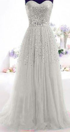 Gray Long Prom Dress Paillette Tulle Party Ball Formal Gowns SIZE2.4 6 8 10+++++ #Unbranded #Formal