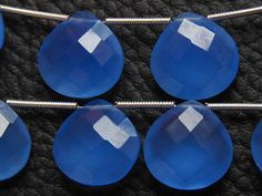 Matched Pair Dark Blue Chalcedony Faceted Heart Shape Drops Briolettes 14X14 MM Approx Finest AAA Quality Wholesale Price New