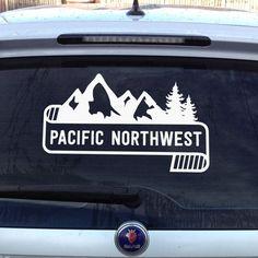 PNW Sticker Decal Northwest Trees Mountains Nature Vinyl Graphic - Unique car decals