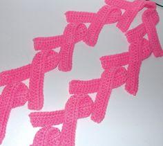 Handmade Pink Breast Cancer Ribbon Crochet Scarf