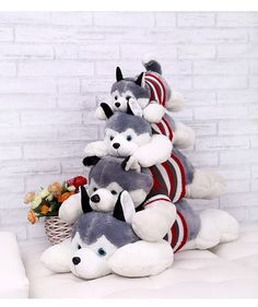 Siberian Husky Lies Prone Dog Plush Toy Dog Doll