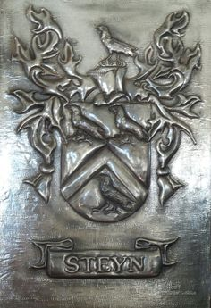 Family crest - Hand crafted Pewter Art Pewter Art, Family Crest, Crests, Coat Of Arms, The Sentence