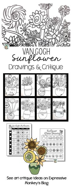 How can an art critique activity help students add more detail in their drawings? Ill show you how I use the work of Vincent van Gogh in an art critique and also show you some fabulous sunflower drawings by kids. Art Van, Van Gogh Art, Vincent Van Gogh, Sunflower Drawing, Sunflower Art, Van Gogh For Kids, Art For Kids, Art History Projects For Kids, Art Projects