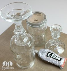 "Make Mason Jar ""Wine Glasses""!  How to + links to how to make Cupcake Stands and Hurricane Lamps"