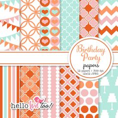 Birthday Party digital paper pack