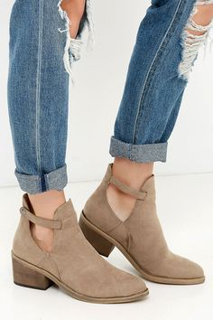 If you thought your phone was the one thing you couldn't live without, you haven't met the Side Kicks Natural Suede Cutout Ankle Booties! These adorable vegan suede ankle boots have an almond-toe, plus trendy side cutouts along the shaft. Snapping strap completes the look.
