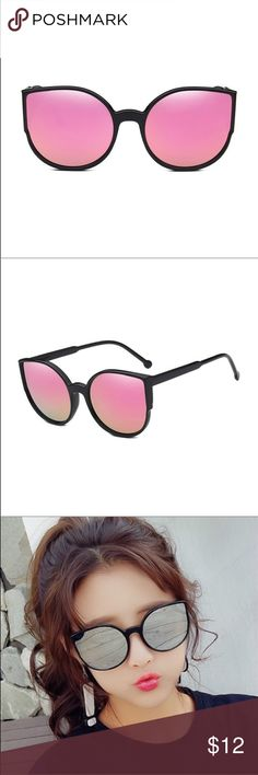 b239edd8d4 Trendy oversized cat eye sunglasses  pink These glasses are so cute! With  an oversized cat eye and reflective lenses