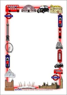 London-themed A4 page borders (SB1360) - SparkleBox