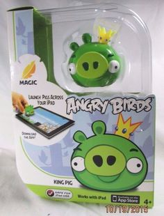 MAGIC ANGRY BIRDS ~ KING PIG ~ LAUNCH PIGS ACROSS YOUR IPAD 1 figurine 1 Card #Mattel