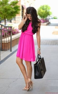 Forever 21 Hot Pink Flirty Back Sun Skater Dress By The Sweetest Thing Colorful Land What Color Matches
