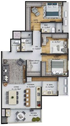 Mi casa del futuro House Floor Design, Sims House Design, Home Design Floor Plans, Home Building Design, Bungalow House Design, Small House Design, Sims House Plans, House Layout Plans, Family House Plans