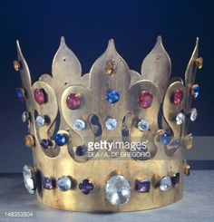 The crown of King Casimir the Great found in the tomb in the Wawel Cathedral in Krakow, Poland. Copy of the original. Jewelry. 14th Century.