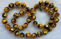 Art Deco Antique Venetian/Czech  Black Gold Foil Glass Bead Necklace