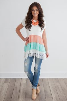 Magnolia Boutique Indianapolis - Layered Chiffon Tunic - Ivory/Peach/Mint…