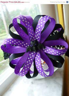 FALL SALE Pom, Purple, Black, Purple and White Polka Dot, Glittery Bat, Halloween Hair Bow. $3.83, via Etsy.