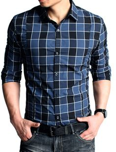 Kuegou Classic Style Slim Fitted Checked Long Sleeve Shirt