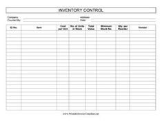 inventory management forms
