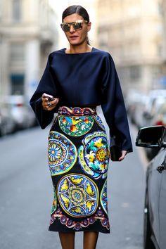 Prints in street style. Giovanna Battaglia at Milan Fashion Week Spring 2015.