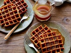 Gingerbread Pumpkin Waffles with Buttermilk-Rum Caramel Syrup : Recipes : Cooking Channel