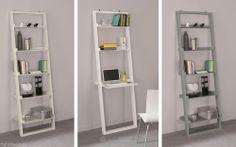 Modern Leaning Bookcase Ladder - Shelf Storage or Laptop Desk - White Taupe Grey