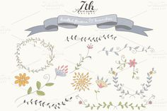 Check out Doodled Flowers and Branches by 7thAvenueDesign on Creative Market
