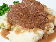 Swiss Steak —– Make it on the stovetop, or in the slow cooker. You'll need… Swiss Steak —– Make it on the stovetop, or in the slow cooker. You'll need cubed steak, dry onion soup, and a can of mushroom soup. Steak Recipes Stove, Steak On Stove, Swiss Steak Recipes, Cube Steak Recipes, Stove Top Recipes, Slow Cooker Recipes, Crockpot Recipes, Cooking Recipes, Steak Stovetop