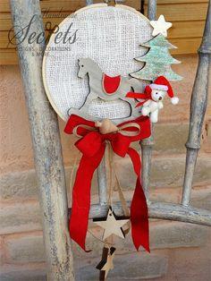 Picture of Χριστουγεννιάτικο διακοσμητικό τελαράκι Handmade Christmas Decorations, Diy Christmas Gifts, Christmas Stockings, Christmas Ornaments, Holiday Decor, Christmas 2016, Xmas, Santa Claus Is Coming To Town, Reno