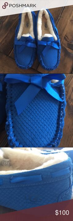 NEW Authentic UGG slippers NEW! Beautiful cobalt blue scaled UGG slippers. No box. UGG Shoes Slippers