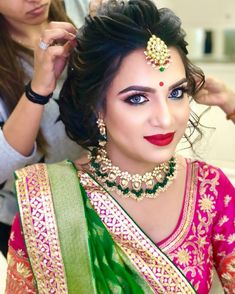 Engagement Hairstyles, Indian Bridal Hairstyles, Mom Hairstyles, Braided Hairstyles For Wedding, Bridal Makeup Looks, Indian Bridal Makeup, Bridal Hair And Makeup, Bridal Hair Buns, Bridal Hairdo