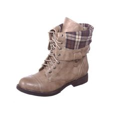 New! Military Combat Boot Fold-over Cuff + Zipper on the Back Multiple Color (7.5, natural) [Apparel] for sale