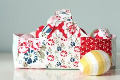 Fabric Basket & Eggs Tutorial. Fabric: Carina Gardner's Wiltshire Daisy fabric collection #iloverileyblake