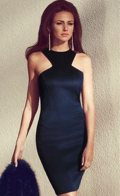 Racer Front Navy Bodycon Dress - Stella La Moda
