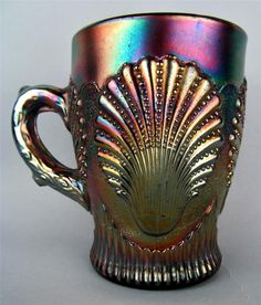 Dugan BEADED SHELL~ AMETHYST CARNIVAL GLASS HANDLED MUG .