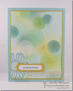 Sending off Mixed Bunch and the Modern Label Punch with a Blue Bokeh Card | Northwest Stamper