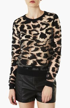 Topshop Animal Print Burnout Top available at #Nordstrom  Seen on Aria episode 4.23