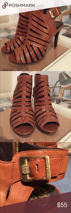 Vince Camuto open toe heel Zipper side. Brown leather and black inlay. Vince Camuto Shoes Heels