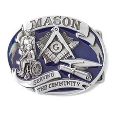 Masonic Buckle Serving The Community Blue Tone Freemason Belt Buckle