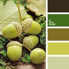 грязный коричневый, коричневый, монохромная зеленая цветовая палитра, насыщенный зеленый, оливковый, оттенки зеленого, светло-салатовый, серо-салатовый, тёмно-зелёный, цвет жёлудя, цвет мха, цвет спаржи, цвета осени.