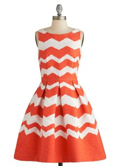 Stylish Idealist Dress - White, Coral, Chevron, Pleats, Party, Fit & Flare, Sleeveless, Summer, Better, Mid-length, Woven, Pockets, Boat
